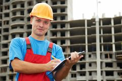 Builder satisfied inspector at Stock Photo