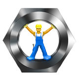 Builder in Screw Nut Stock Image