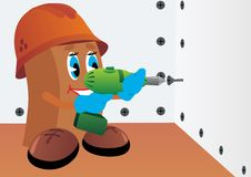 Builder with screwdriver Stock Photo
