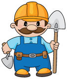 Builder with a shovel. An illustration of a builder with a shovel and trowel Royalty Free Stock Photo