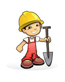 Builder with shovel. Vector illustration of a builder with shovel Royalty Free Stock Images