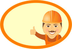 Builder showing thumb up and smile in frame Royalty Free Stock Photos