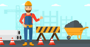 Builder showing thumbs up. Royalty Free Stock Photography