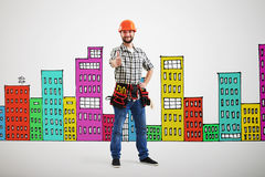 Builder showing thumbs up Stock Images