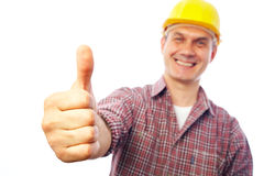 Builder shows gesture OK Royalty Free Stock Image