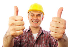 Builder shows gesture OK stock photo