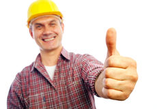 Builder shows gesture OK Royalty Free Stock Images