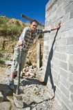 Builder with spade royalty free stock images