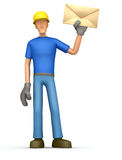Builder standing with a letter Stock Photos