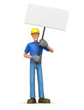 Builder standing with placards on the picket Stock Photography