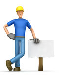 Builder stands beside the blank board Stock Photography