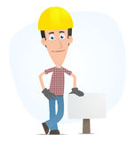 Builder stands beside the blank board Royalty Free Stock Photos