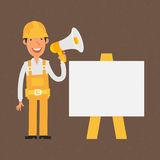 Builder stands near with flip-chart holds megaphone. Illustration, builder stands near with flip-chart holds megaphone, format EPS 8 Royalty Free Stock Photography