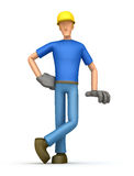 Builder stands next to a blank place Royalty Free Stock Photos