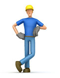 Builder stands next to a blank place Royalty Free Stock Image