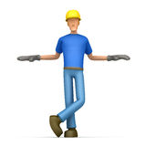Builder stands next to a blank place Stock Photos