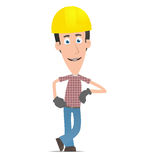 Builder stands next to a blank place Stock Image