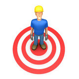 Builder stands in the target. Illustration of an abstract character on a white background for use in presentations, etc Royalty Free Stock Photography