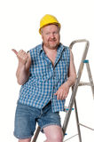 Builder on step ladder  - isolated on white Stock Photo