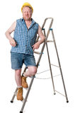 Builder on step ladder  - isolated on white Royalty Free Stock Photo
