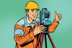 Builder surveyor with a theodolite optical instrument for measur. Ing distances. Pop art retro vector illustration Stock Image