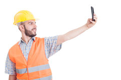 Builder taking a selfie Royalty Free Stock Photo