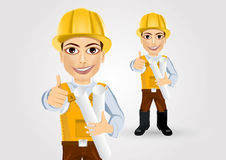 Builder with tape blueprints Stock Photography