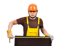 Builder with tape measure Stock Images