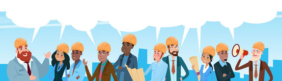 Builder Team Architect Mix Race Workers Chat Communication Bubble Talking. Discussing Communication Social Network Flat Vector Illustration Royalty Free Stock Photos