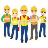 Builder Team Contractor Workers. Builder male and female team contractor workers royalty free illustration