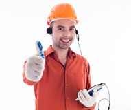 A builder with telephone Stock Photography