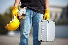Builder with tool case Stock Photography