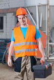 Builder with toolbox Royalty Free Stock Images