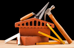Builder  tools on black background Stock Images