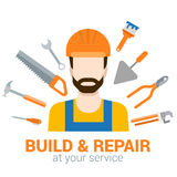Builder with tools: build and repair flat vector construction Stock Photos