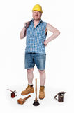 Builder with tools - isolated on white Royalty Free Stock Photo