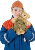 Builder and toy bear Stock Images