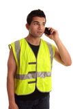 Builder Tradesman Takes A Call Stock Photos
