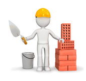 Builder with trowel and bricks. 3d illustration of builder figure with blank face next to trowel, bucket and pile of bricks, isolated on white background Stock Image