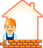 Builder with trowel, bricks and house silhouette. Cartoon smile builder with trowel, bricks and house silhouette Stock Photography