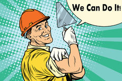 Builder with a trowel we can do it. Pop art retro vector illustration Royalty Free Stock Photo