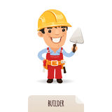 Builder with a trowel. In the EPS file, each element is grouped separately. Isolated on white background Stock Photo
