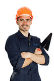 Builder with trowel isolated on white background. Young worker standing with trowel isolated on white background Royalty Free Stock Images