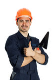 Builder with trowel isolated on white background Stock Photography