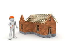 Builder / Under construction wireframe house. (3d isolated on white background characters series Stock Photo
