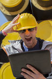 Builder under stress Royalty Free Stock Image