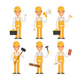 Builder in various poses part 2 Stock Photos