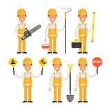 Builder in various poses part 1 Royalty Free Stock Photography