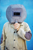 Builder - welder with old welding mask Royalty Free Stock Images
