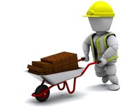 Builder with a wheel barrow carrying bricks Royalty Free Stock Photos